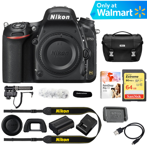 Nikon D750 DSLR 24.3MP HD 1080p FX-Format Digital Camera (Body) Bundle Includes Stereo/Mono Camera Mount Microphone, 32GB Extreme SD Memory Card, Corel PaintShop Pro X9 & Deluxe DSLR Camera Case