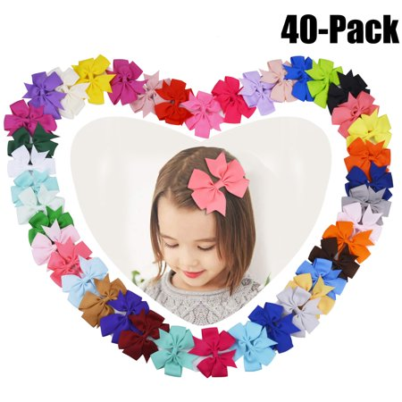 40Pcs Ribbon Hair Bows Clips Hairpin Hair Accessories for Baby Girls Kids Teens Toddlers Children