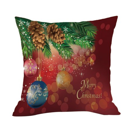 Happy Christmas Pillow Cases Linen Sofa Cushion Cover Home Decor Pillow Core](Hippy Home Decor)
