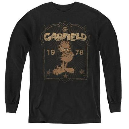 1978 Garfield - Trevco Sportswear GAR568-YL-3 Garfield & EST 1978 Youth Long Sleeve T-Shirt,  Black - Large