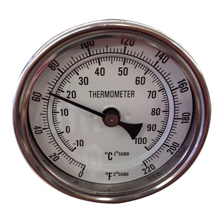 Learn To Brew Thermometer Dial with Stainless Probe & Calibration Screw, 0 - 220°, 2 inch stem By Learn To Brew LLC
