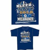 "Milwaukee Baseball ""I Bleed Navy and Gold, Go Milwaukee"" T-Shirt, Blue"