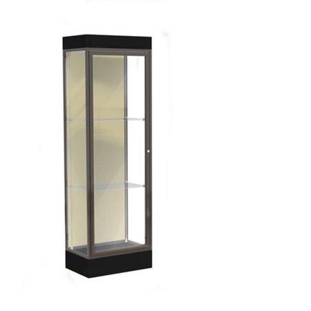 Waddell 91LFSK-BZ-BK Edge 24 x 76 x 20 in. Black Base Lighted Floor Display Case with 2 ft. Hinged Door & 6 in. Base, Silk Back - Dark Bronze