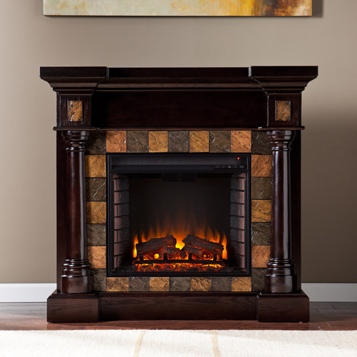 **NEW** Southern Enteprises Kentshire Convertible Electric Fireplace, Espresso with Faux Slate