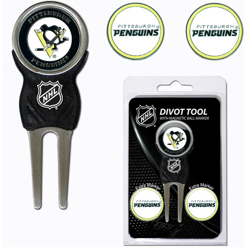 Team Golf NHL Pittsburgh Penguins Divot Tool Pack With 3 Golf Ball Markers