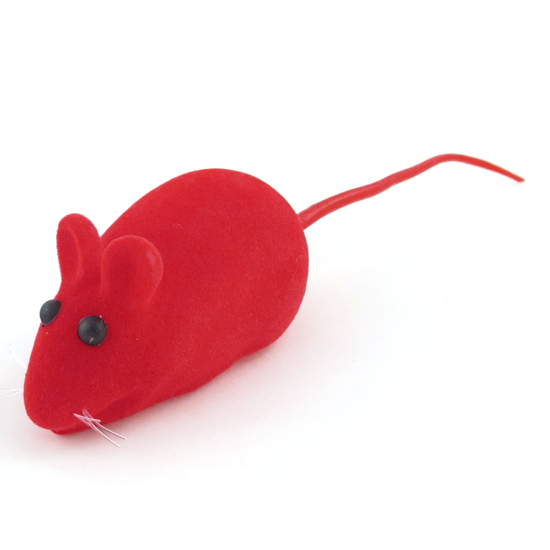 Unique Industries Red Mouse Shape Black Eyes Squeaky Chew Toy for Pet Dog