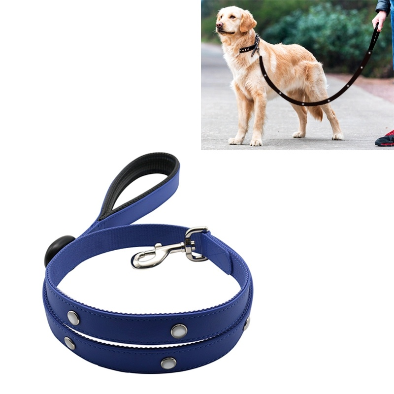 PVC Webbing Material Waterproof LED Light Traction Belt Pet Dogs Traction Rope with Handle, Suitable For Medium and Large Dogs, Rope Length:120 cm - Blue