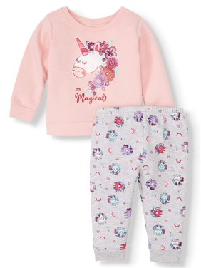 Graphic Sweatshirt & Print Sweatpants, 2pc Outfit Set (Baby Girls)