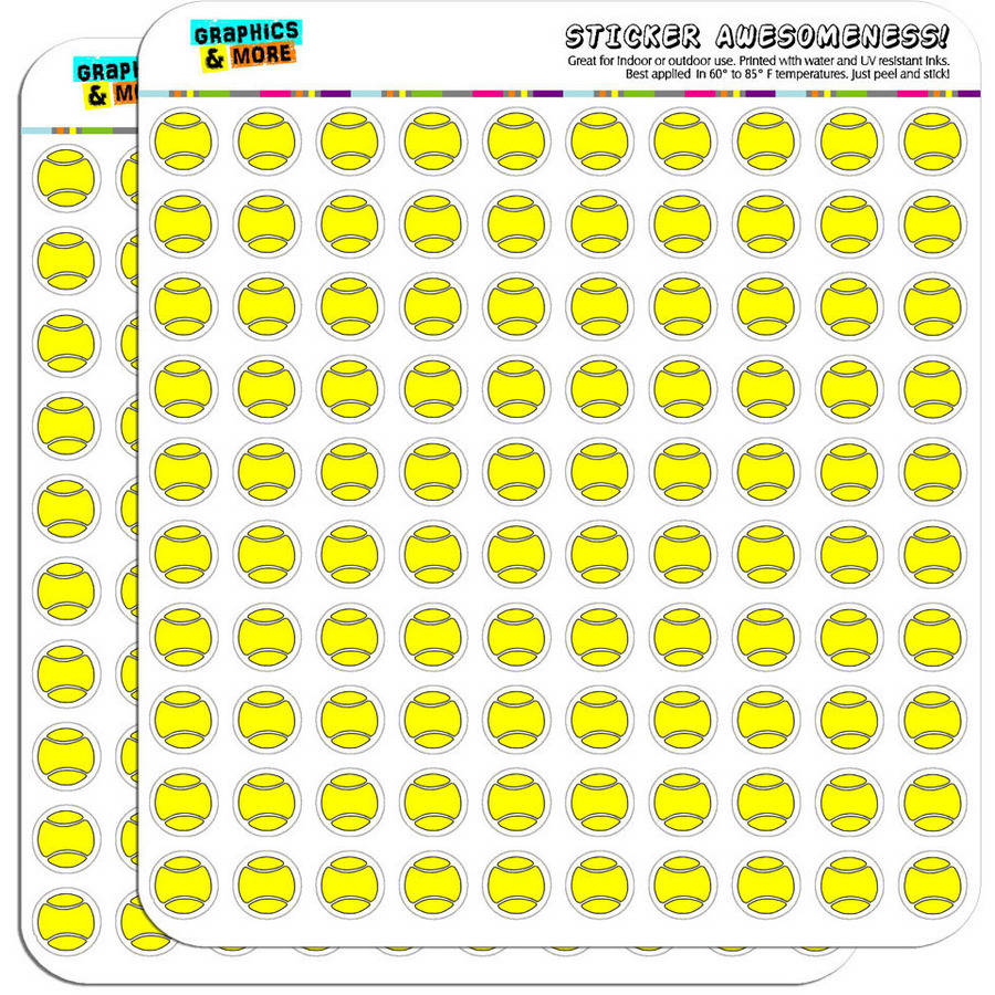 """Cartoon Tennis Ball 200 1/2"""" (0.5"""") Planner Calendar Scrapbooking Crafting Stickers"""
