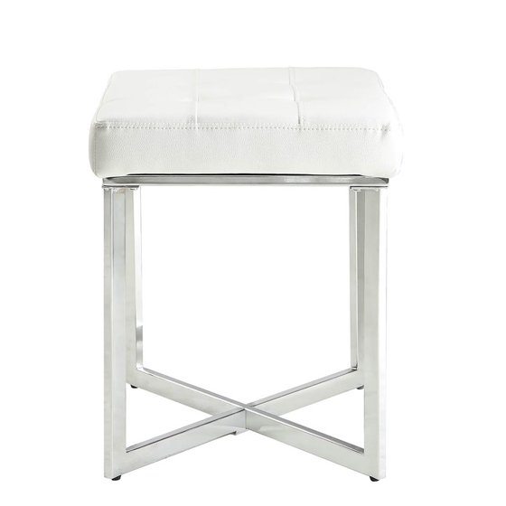 Sensational Carolina Classic Furniture Summer Vanity Bench White And Chrome Bralicious Painted Fabric Chair Ideas Braliciousco