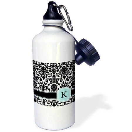3dRose Letter K personal monogrammed mint blue black and white damask pattern - classy personalized initial, Sports Water Bottle, 21oz