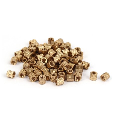 M4 x 5mm Brass Injection Molding Knurled Threaded Insert Embedment Nuts 100PCS - image 3 de 3