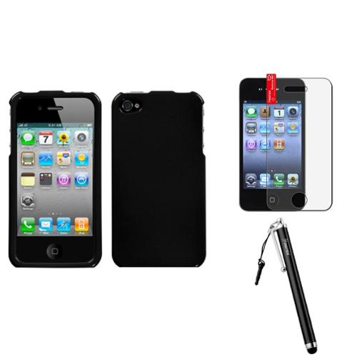 Insten Solid Black Phone Case For Apple iPhone 4 4S + Stylus + Protector