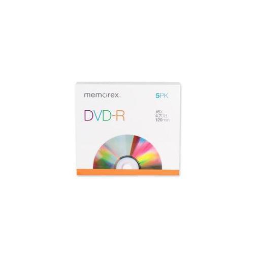 Memorex Memorex DVD-R, 16X, 4. 7GB, Branded with Slim Jewel Case, 5-PK