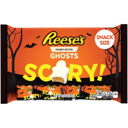 Hershey's Reese's White Ghosts Halloween Snack Size Peanut Butter Cups, 10.2 Oz.