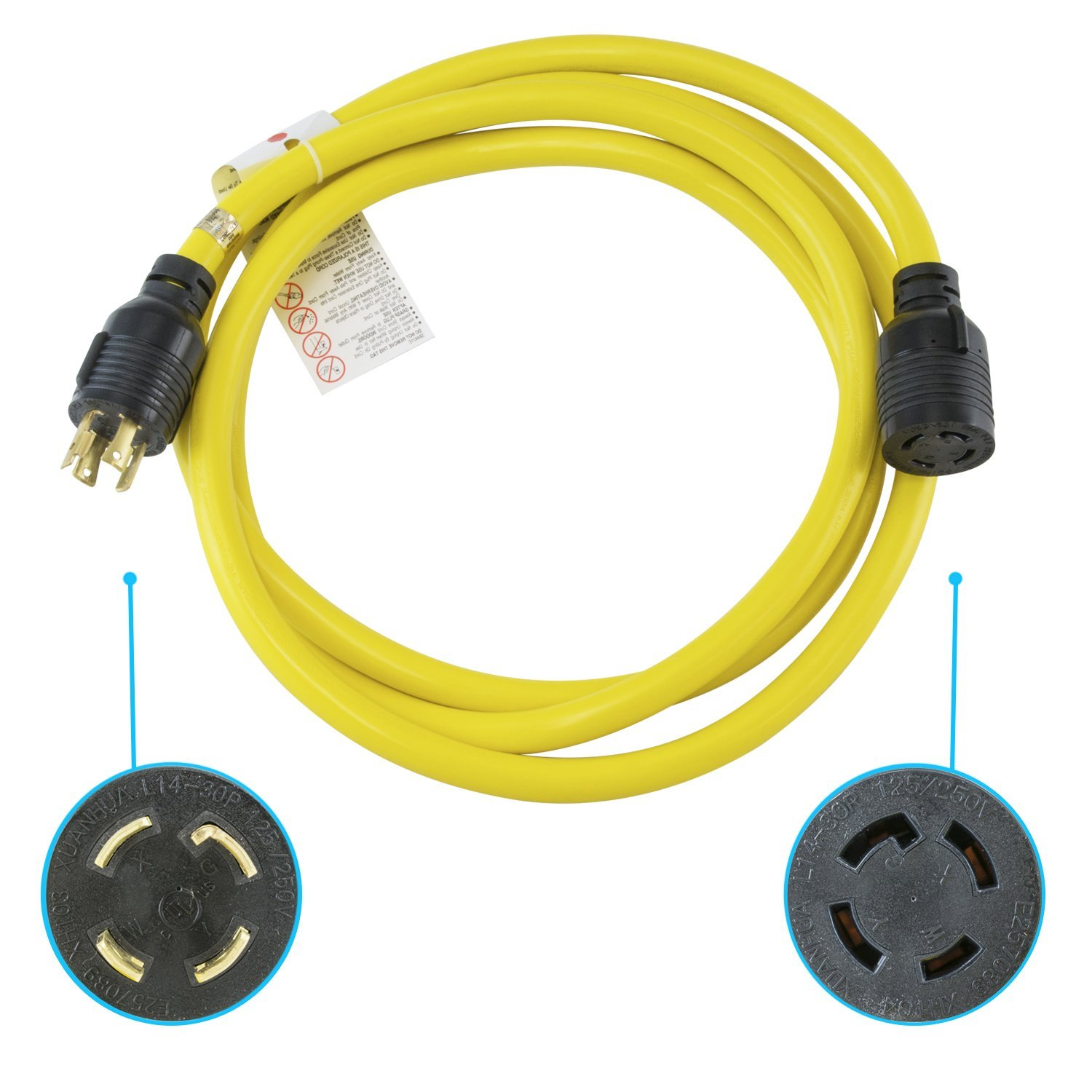Houseables Extension Cord, Electric Wire, 4 Prong, 30 Amp, 125-250v, Single, Yellow, 10 Ft, All Rubber, 10 Gauge, Heavy Duty, L14-30, Commercial, Electrical Power, Generator Cable, With Locking Switch