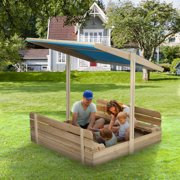 Wooden Sandbox Kids Outdoor Sandbox with Lid and 2 Benches, UV Protection Canopy Retractable and Rotatable Outdoor Playset Sand Boxes 47.5 x 47.5 Inches Natural Wood