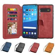 Njjex Wallet Phone Cases for Samsung Galaxy S9 / S9 Plus / S10 / S10 Plus / S10E / S9+ / S10+. Leather Detachable Magnetic Case Zipper Pocket 8 Card Slots Purse KickStand Cover Wrist Strap Gift Box