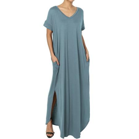 TheMogan Women's Viscose Jersey V-Neck Short Sleeve Relaxed T-Shirt Slit Maxi Dress (Anna Green Dress)