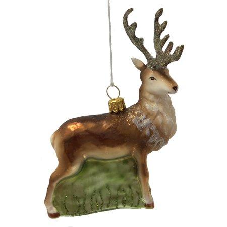 Male Buck Deer with Antlers Polish Glass Christmas Tree Ornament Wildlife - Antler Christmas Tree