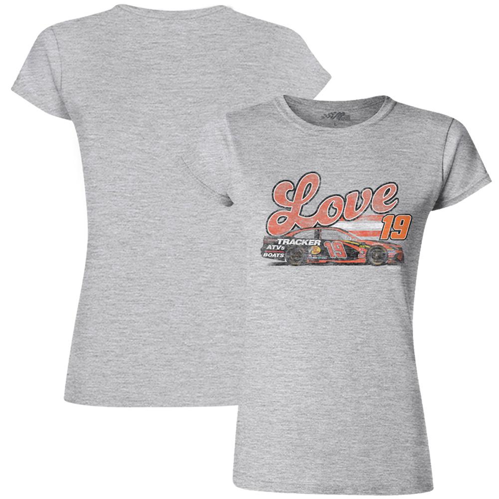 Martin Truex Jr Joe Gibbs Racing Team Collection Women's Love Cars T-Shirt - Gray