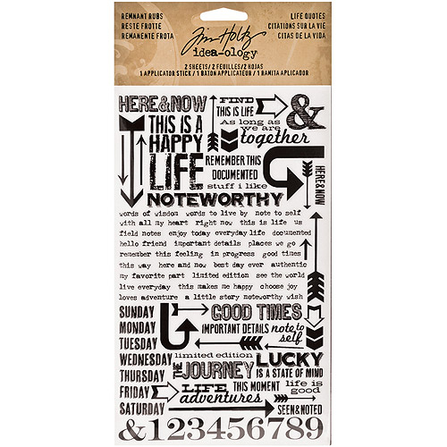 "Idea-Ology Remnant Rubs Rub-Ons, 4.75"" x 7.75"" Sheets, 2pk, Life Quotes"