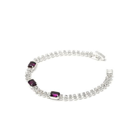 2 Strands Silver Crystal Rhinestone with Baguette Cut Amethyst Stone Tennis Bracelet ()
