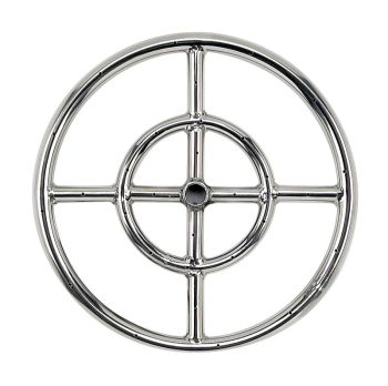 "18"" Double-Ring 304. Stainless Steel Burner with a 1/2"" Inlet"