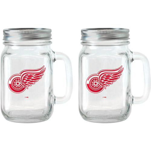 NHL 16 oz Detroit Red Wings Glass Jar with Lid and Handle, 2pk