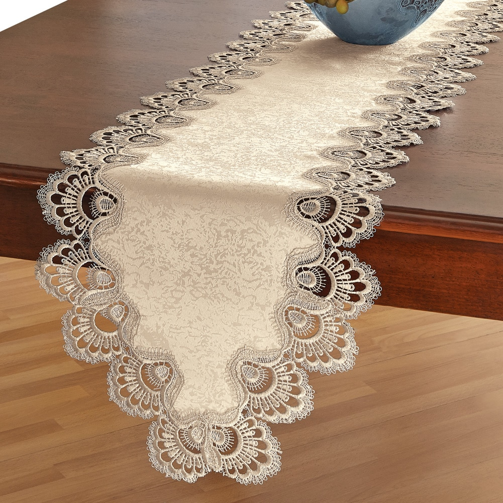 Crochet Lace Kitchen Table Linens, Runner, Blue by Collections Etc