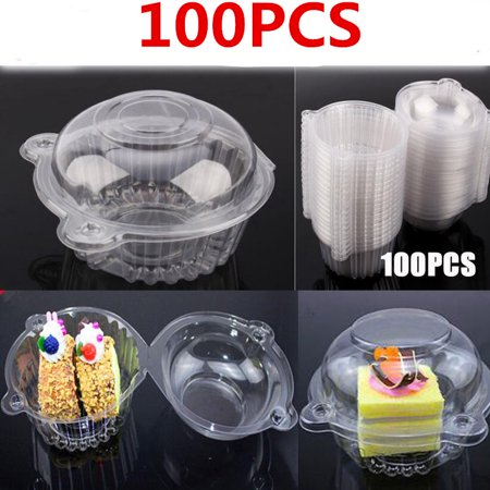 Dilwe 100 Single Individual Cupcake Muffin Holders Clear Plastic Cupcake Dome Holders,Cupcake Pods Carrier Case Boxes With Resealable Lids - Cupcake Boxes With Inserts