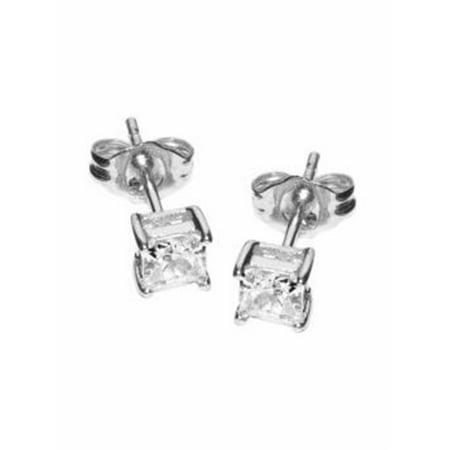 3MM Clear Square Princess Cut CZ 925 Sterling Silver 0.2 tcw Basket Setting Cubic Zirconia Nickel Free Stud Earrings