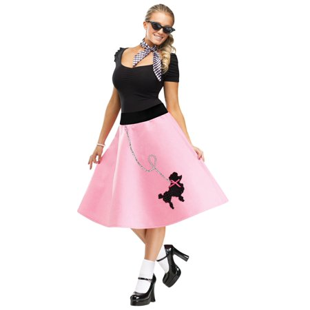 Poodle 50S 50'S Skirt Sock Hop Bobby Soxer Pink Adult Womens Grease Costume