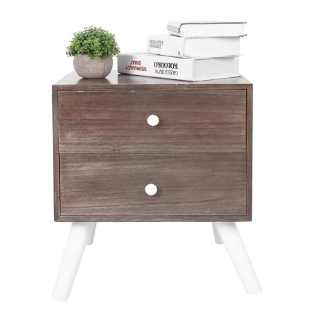 Brrnoo Retro Wooden Bedroom Bedside Table Nightstand Storage Cabinet with 2 Drawers for Living Room Decor,Night Table,Nightstand with Drawers