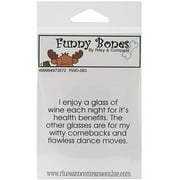 Riley & Company Funny Bones Cling Mounted Stamp, 2.5 by 1.5-Inch, Wine for Health Benefits Multi-Colored