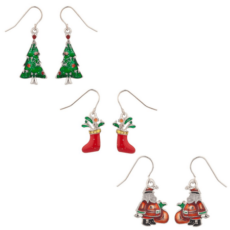 Lux Accessories Glittery Christmas Tree Stocking and Santa Dangle Charm Earrings (3pc)