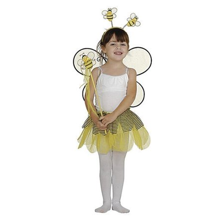 Girls Yellow Tutu Wings Headband Wand Bumble Bee Halloween 4 Pcs Costume Set One (Couture Costume D'halloween)