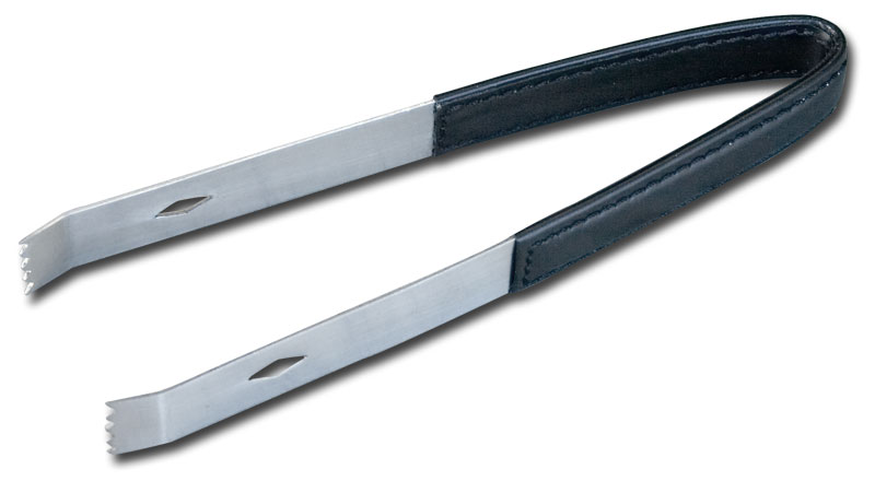 Classic Black Leather Ice Tongs by Dacasso