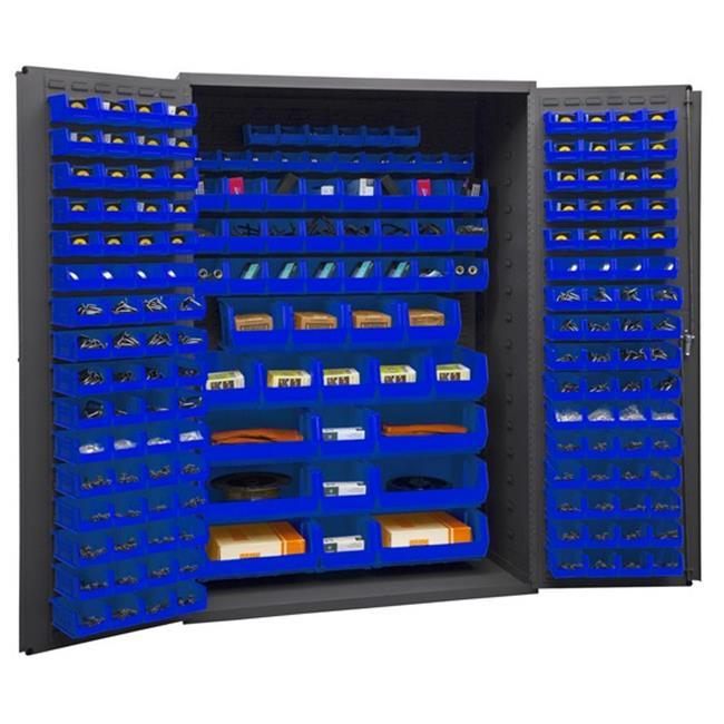 14 Gauge Flush Door Style Lockable Cabinet with 186 Blue Hook on Bins, Gray - 48 in.