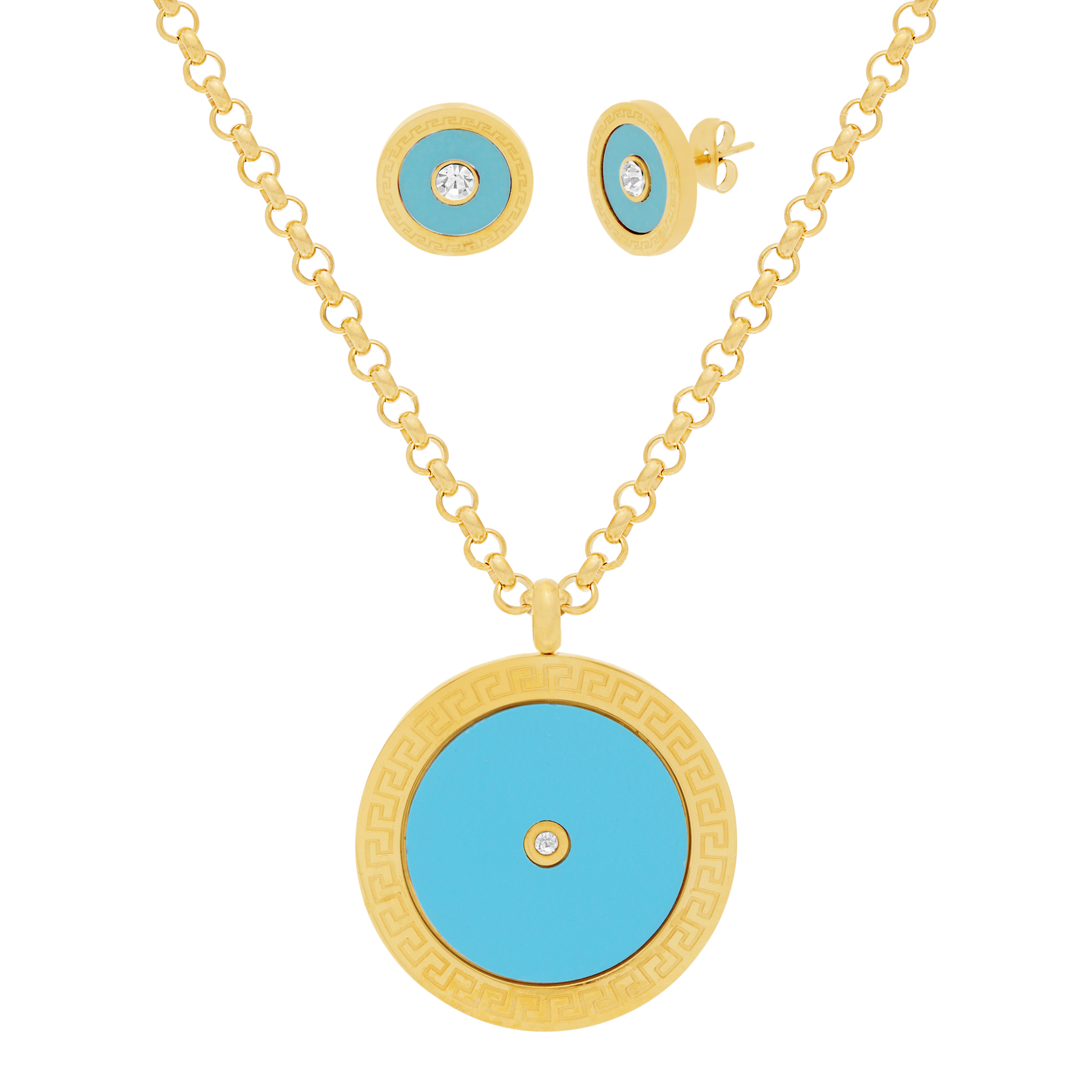 Gold-Tone Stainless Steel Center Cubic Zirconia Turquoise Circle Earring and Necklace Set