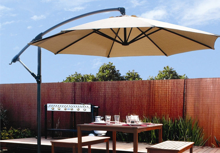 Patio 10u0027 Hanging Umbrella Off Set Outdoor Parasol, 4 Colors