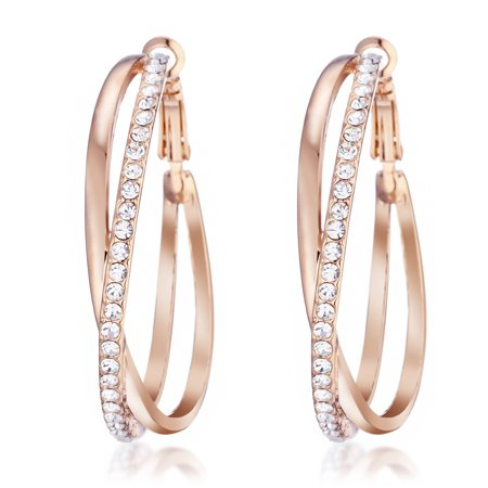 Gemini Women's Jewerly 18k Rose Gold Filled CZ Diamonds Hoop Earrings Valentine's Day Gifts Gm032Rg 1.5 inches Ruby Gold Filled Earrings