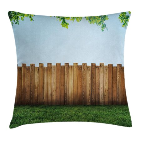 Farm House Decor Throw Pillow Cushion Cover, Rustic Plank over Field Meadow Tranquil Nature Yard Neighborhood Image, Decorative Square Accent Pillow Case, 18 X 18 Inches, Green Brown, by