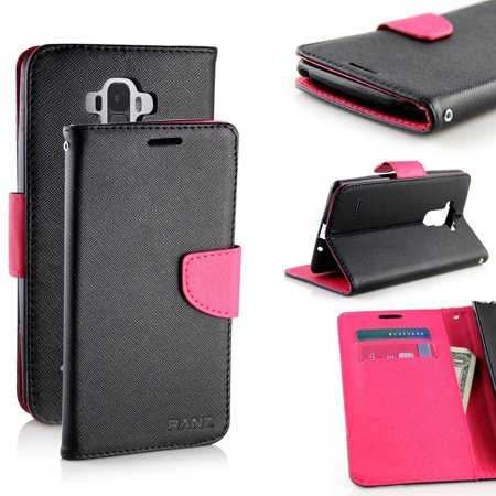 LG G Stylo Case, RANZ Stylish Design Deluxe PU Leather Folio Flip Book Wallet Pouch Case Cover (Hot Pink/Black) For LG G Stylo(LS770)/ LG G stylus H631