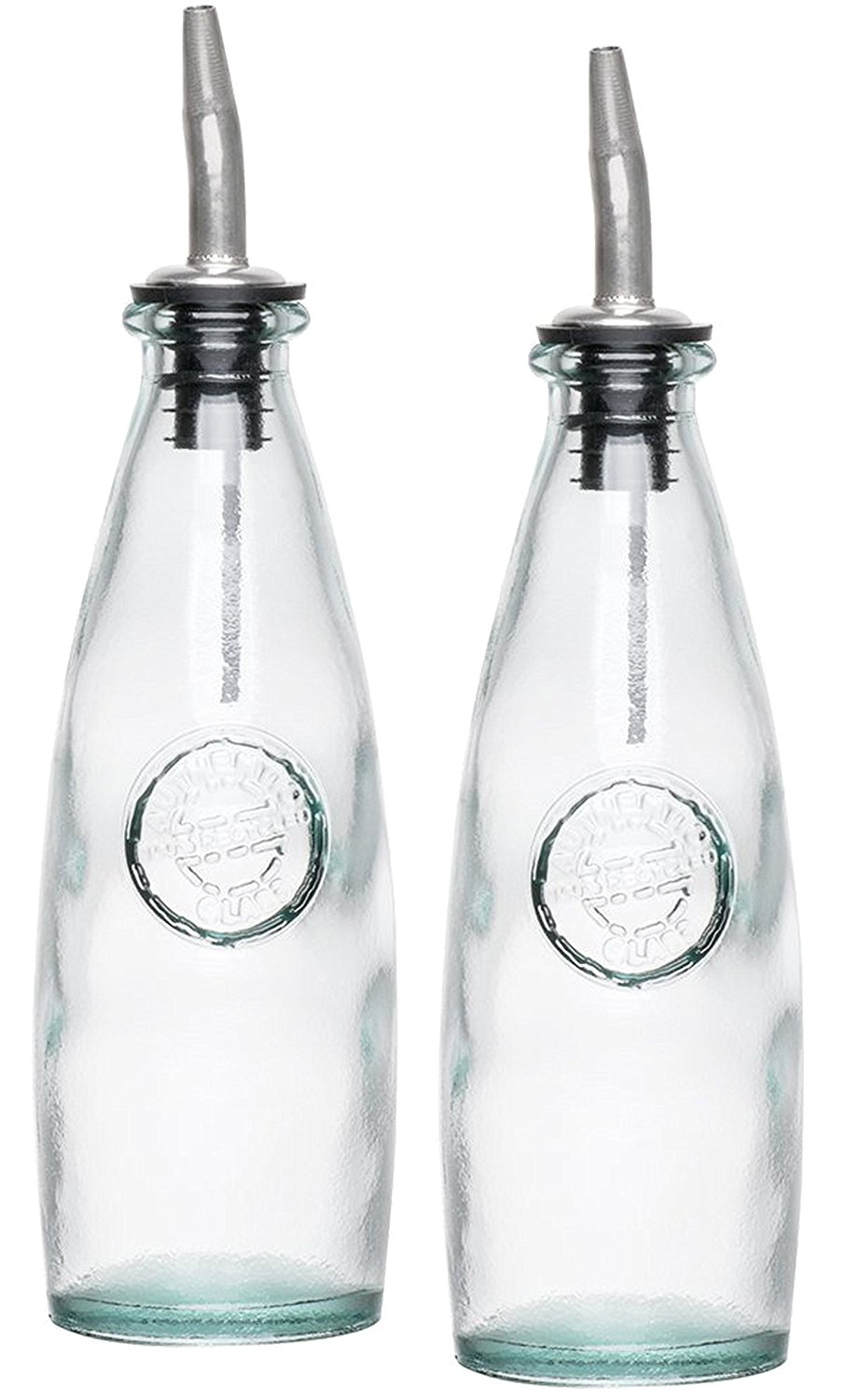 Olive Oil Dispenser 10 Oz Eco Friendly Recycled Gl And Vinegar Bottle With Stainless Steel Pourer 2 Piece Cruet Set