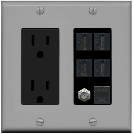 - RiteAV 15A Power Outlet, 4 HDMI, 1 Cat5e Ethernet, 1 Coax Cable TV Wall Plate - Gray/Black