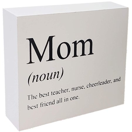 JennyGems Dictionary & Definition Art Collection Wood Sign Mom The Best Teacher, Nurse, Cheerleader, And Best Friend All In One - Mothers Day, Birthday Home