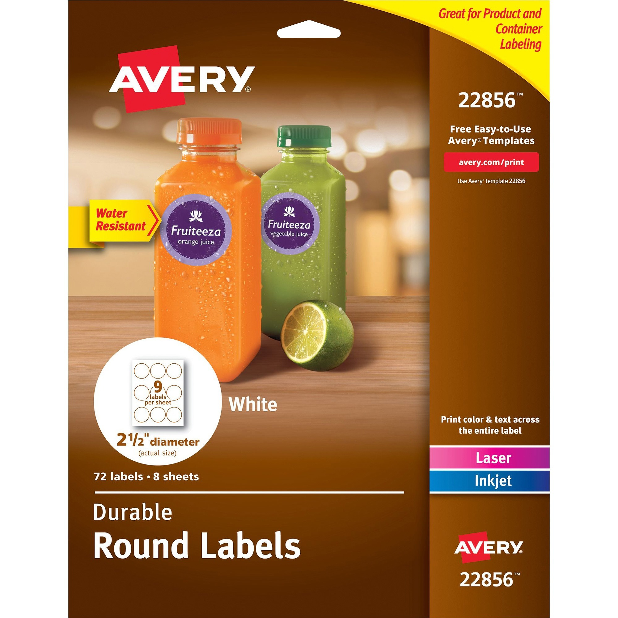 Avery®, AVE22856, Durable Round Labels, 72 / Pack, White