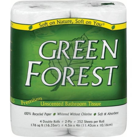 Green Forest 100% Recycled Premium Bathroom Tissue, 4 Double Rolls, 352 Sheets/Roll 100% Recycled Double Roll