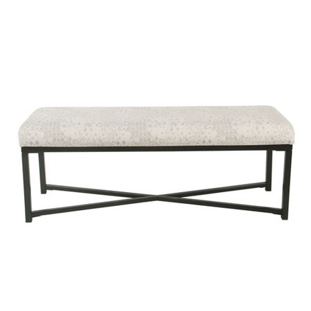 Large Rectangle Bench with Metal Base - Gray and Cream Vintage Stencil